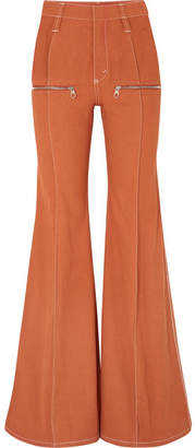 Chloé Zip-embellished High-rise Flared Jeans - Orange