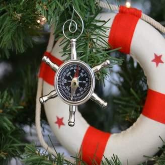 Handcrafted Nautical Decor Ship Chrome Wheel Compass Christmas Tree Ornament