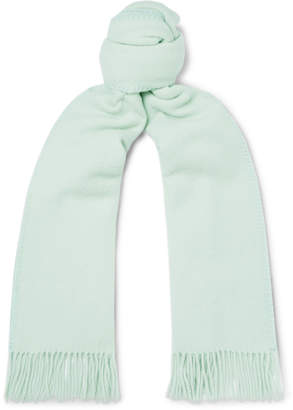 Ami Logo-Appliqued Fringed Virgin Wool Scarf - Men - Green