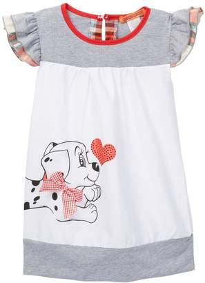 Funkyberry Puppy Ruffle Sleeve Dress (Toddler Girls)
