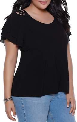 Belldini Lace-Up Shoulder Ruffle-Sleeve Top - 100% Exclusive