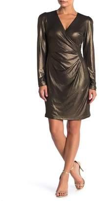 Taylor Foil Jersey Mock Wrap Dress