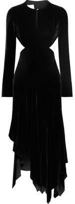 Marques Almeida Marques' Almeida - Cutout Asymmetric Velvet Midi Dress - Black