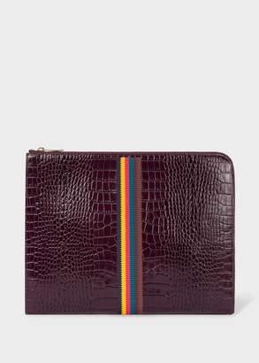 Paul Smith Men's Burgundy 'Bright Stripe' Mock-Croc Leather Document Pouch