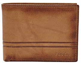 Fossil Watts Leather Bifold Flip ID Wallet
