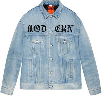 Oversize denim jacket with appliqués $2,500 thestylecure.com