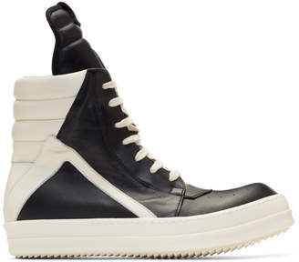 Rick Owens Black and Off-White Geobasket High Sneakers