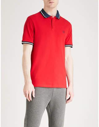 The Kooples Stripe-trimmed cotton-piqué polo shirt