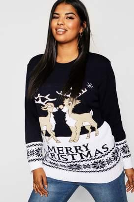 boohoo Plus Reindeers Christmas Jumper