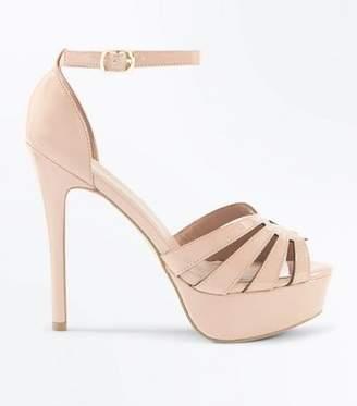 New Look Nude Patent Strappy Stiletto Heel Platform Sandals