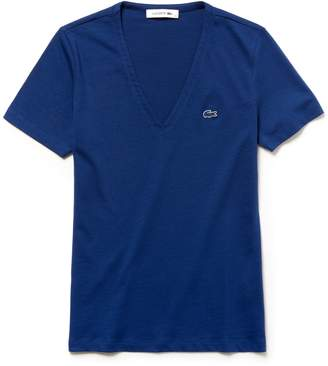 Lacoste Women's Slim Fit V-Neck Cotton Jersey T-shirt