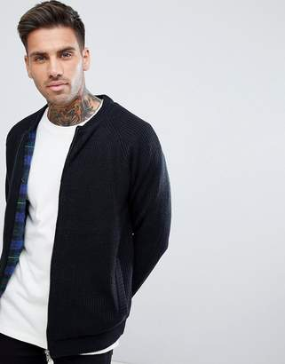 Tokyo Laundry Check Lined Knitted Bomber