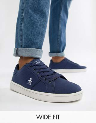 Original Penguin Wide Fit Stedaman Canvas Sneakers In Navy