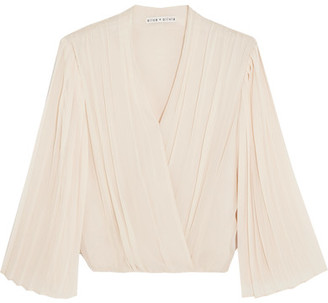 Alice + Olivia Alice Olivia - Axel Wrap-effect Pleated Silk-georgette Blouse - Cream $295 thestylecure.com