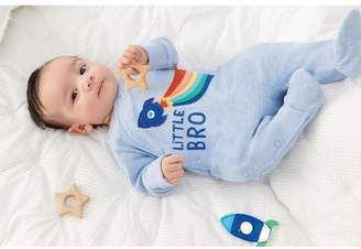 Next Boys Blue Little Bro Rocket Sleepsuit (0-18mths) - Blue