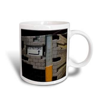 3dRose The Elevator Sign in a Parking Garage Done in Different Textures and Layers, Ceramic Mug, 11-ounce