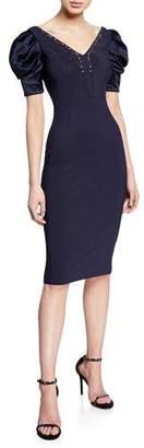 Chiara Boni Meve V-Neck Satin Puff-Sleeve Dress w/ Bead Embellished Neckline