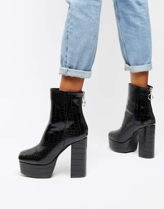 d1b983cd79 Public Desire black croc effect platform boots
