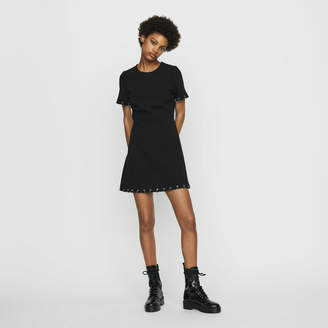 Maje Crepe dress with eyelets and rings