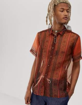 Asos Design DESIGN regular fit sheer paisley shirt