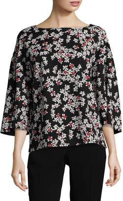 Lafayette 148 New York Gwendolyn Floral Bell-Sleeve Blouse