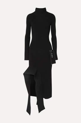 Off-White Asymmetric Ribbed-knit Dress - Black