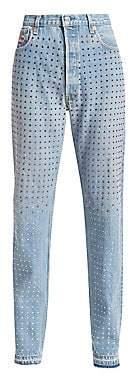 Frankie B. Women's Multi-Rhinestone Fray-Hem Jeans