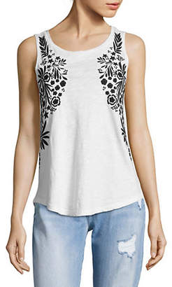 Lord & Taylor Embroidered Cotton Tank Top