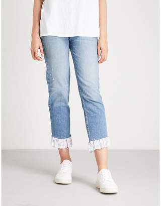 Paige Sarah ruffled high-rise straight jeans