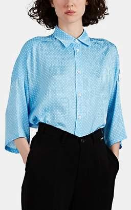 Balenciaga Women's Polka Dot Logo-Jacquard Swing Blouse - Blue