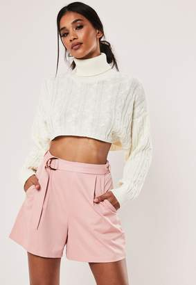 Missguided Petite Pink Belted Shorts