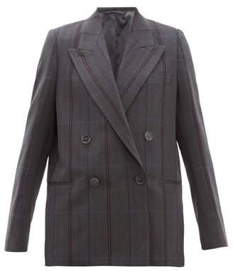 Acne Studios Checked Double Breasted Wool Blend Blazer - Womens - Dark Grey