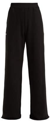 MSGM Wide Leg Cotton Jersey Track Pants - Womens - Black