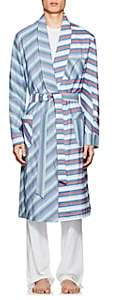 Barneys New York Men's Striped Cotton Poplin Robe - Blue