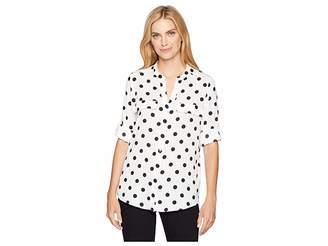 Calvin Klein Printed Roll Sleeve Blouse (Dot