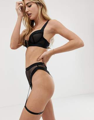 Asos Design DESIGN Agnes chunky strap & fishnet high leg thong with removable leg harness