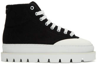 MM6 MAISON MARGIELA Black Wool Platform Sneakers