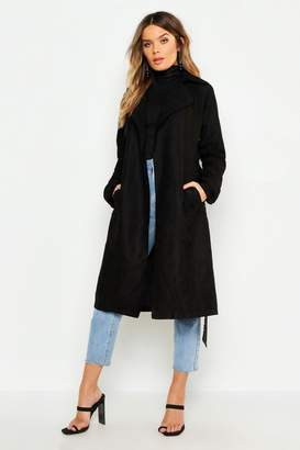 boohoo Faux Suede Trench Coat