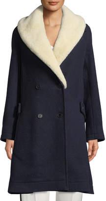 J.W.Anderson Double-Breasted Wool Swing Coat w/ Shearling Fur