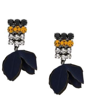 Marni fabric flower clip-on earrings