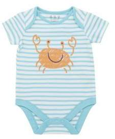 F&F Crab And Striped Short Sleeve Bodysuit 9-12 months