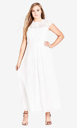 City Chic White Lace Bodice Maxi Dress