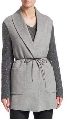 Fabiana Filippi Belted Cashmere Sequin Jacket