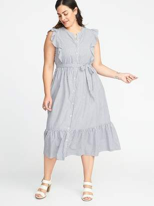 Old Navy Tie-Belt Plus-Size No-Peek Midi Shirt Dress