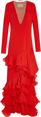 Johanna Ortiz Mirasol Chili Crepe De Chine Dress