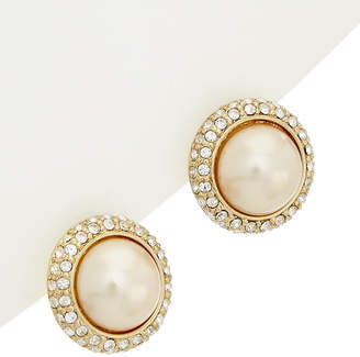 Carolee 12K Yellow Gold Plated Glass Stone & Pearl Earrings