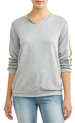 b007626dd622e Juniors  Cut-Out Rainbow Side Stripe Pullover Sweatshirt