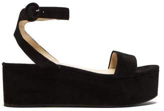 Prada Flatform Suede Sandals - Womens - Black