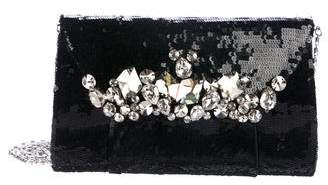 Murad Zuhair Crystal-Embellished Sequined Clutch
