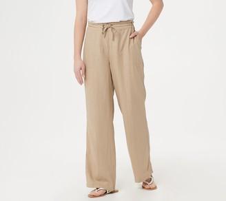 Denim & Co. Linen Blend Pull-On Full-Length Pants